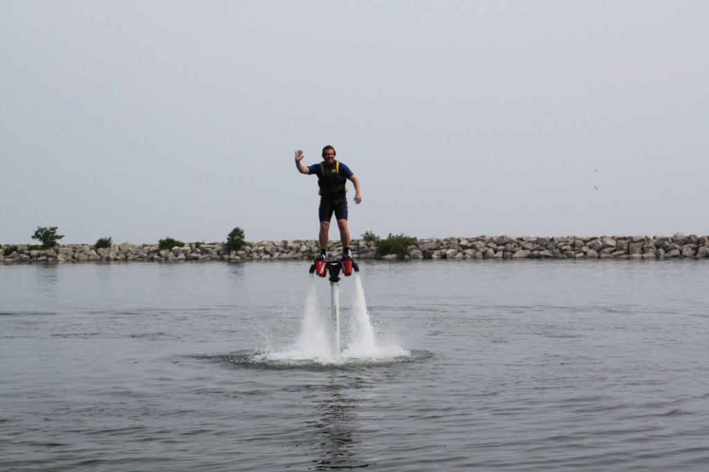 Steve getting the feel for flyboarding