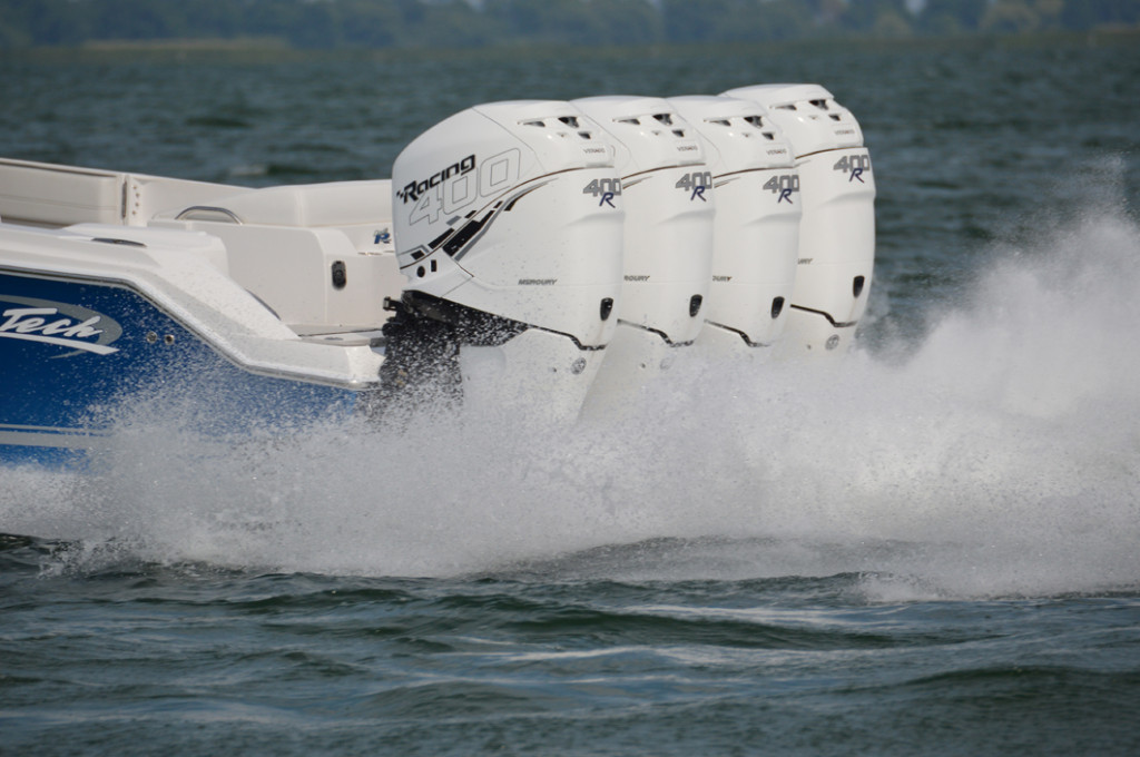 Mercury Racing's 400 Verado R outboards provide 1600 horsepower to this Nor-Tech centre console
