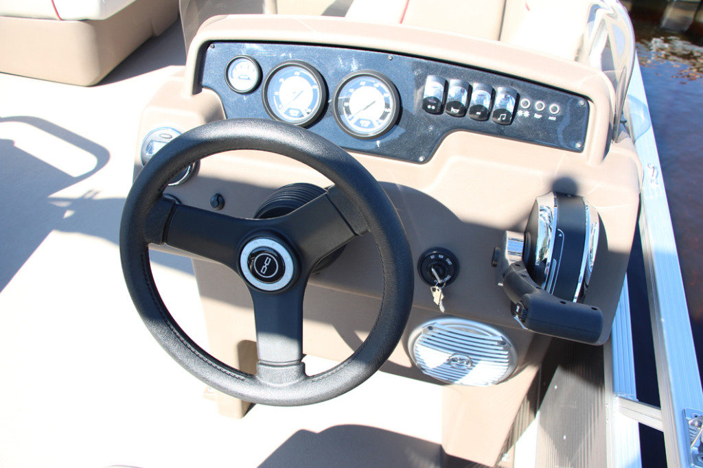 The helm is basic with a few added comforts