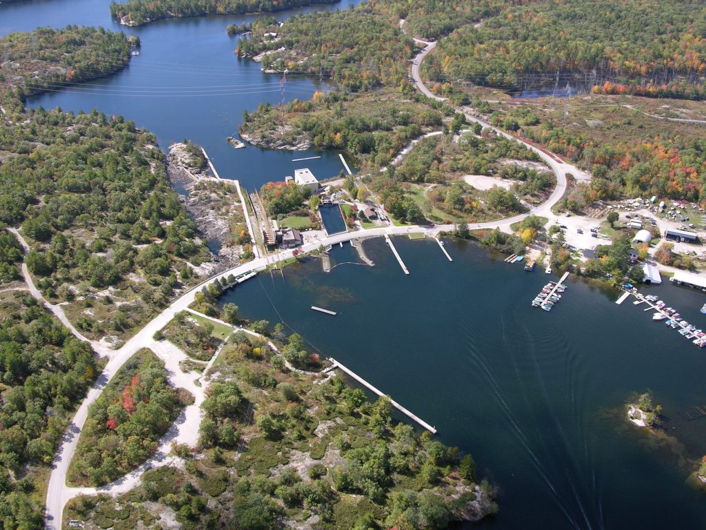 An aerial view of Big Chute along the Trent-Severn Waterway