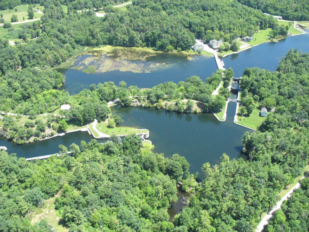 An aerial view of Jones Falls on the Rideau Canal