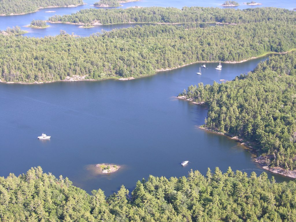 The Massassauga Provincial Park is a vast area of scenic spots to anchor