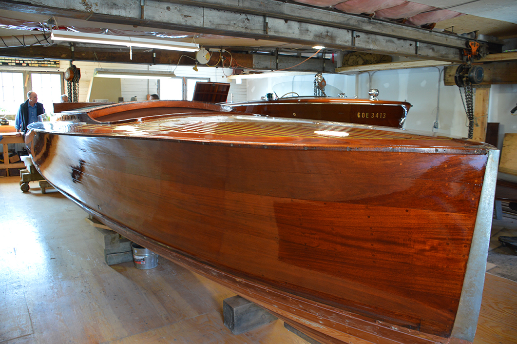 Final refinishing of a 1928 Ditchburn Long Deck Launch
