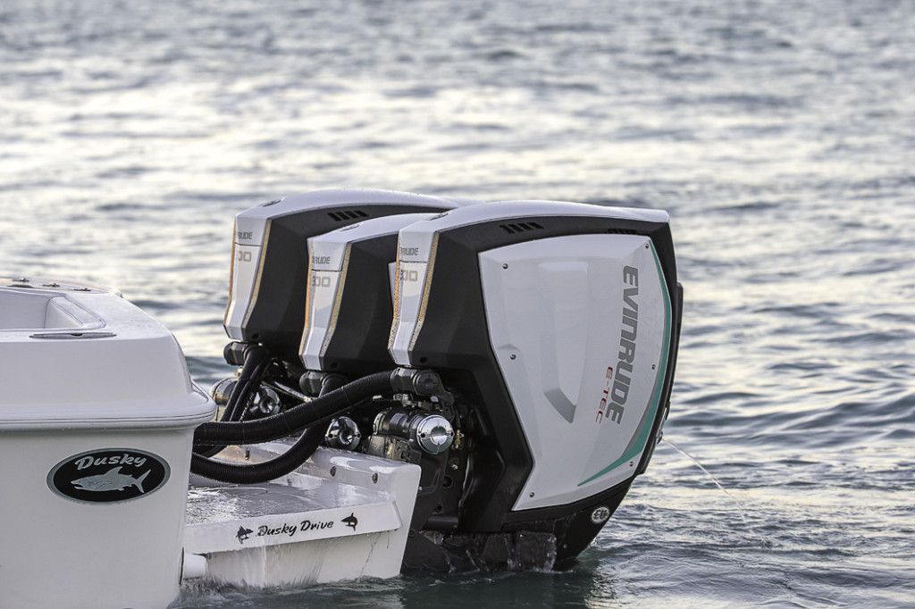 Triple 300 hp Evinrude E-TEC G2s on a Dusky Offshore Boat