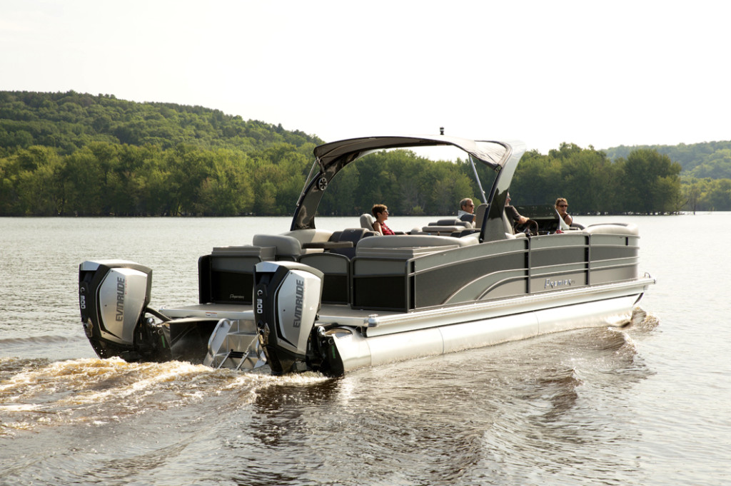 Twin 300 hp Evinrude E-TEC G2s on a Premier Pontoon Boat