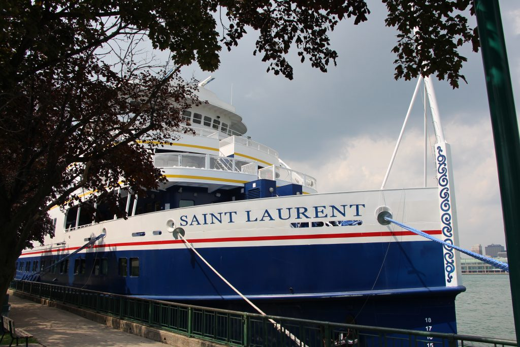The Saint Laurent moored in downtown Windsor, Ontario for the Detroit, Michigan excursion