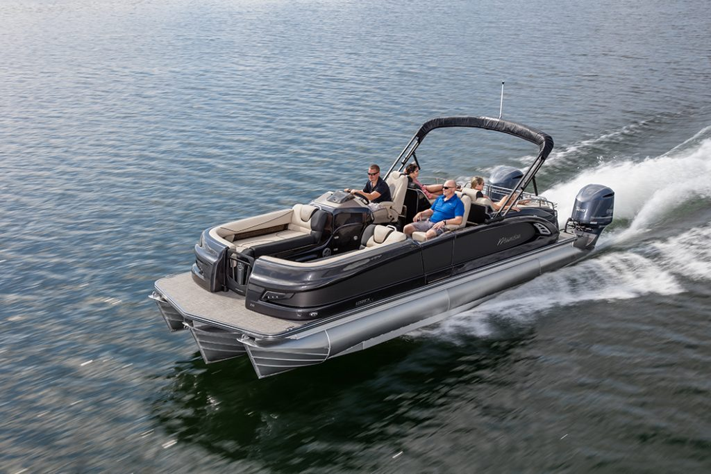 Manitou Legacy LT with twin Yamaha outboards